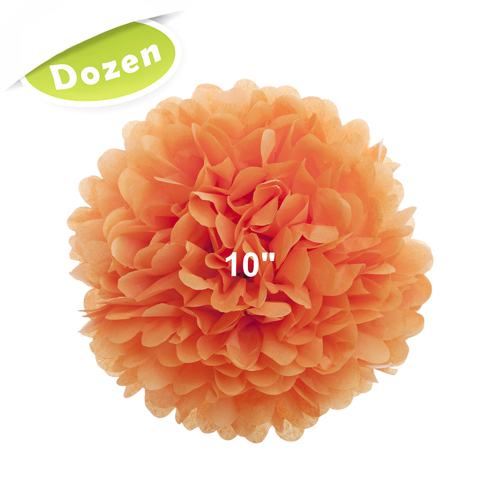 "(Price/12 Pcs)Aspire Dozen 10"" Pom Poms, 15 Colors Tissue Paper Pom Poms, Perfect For Decoration-Chocolate"