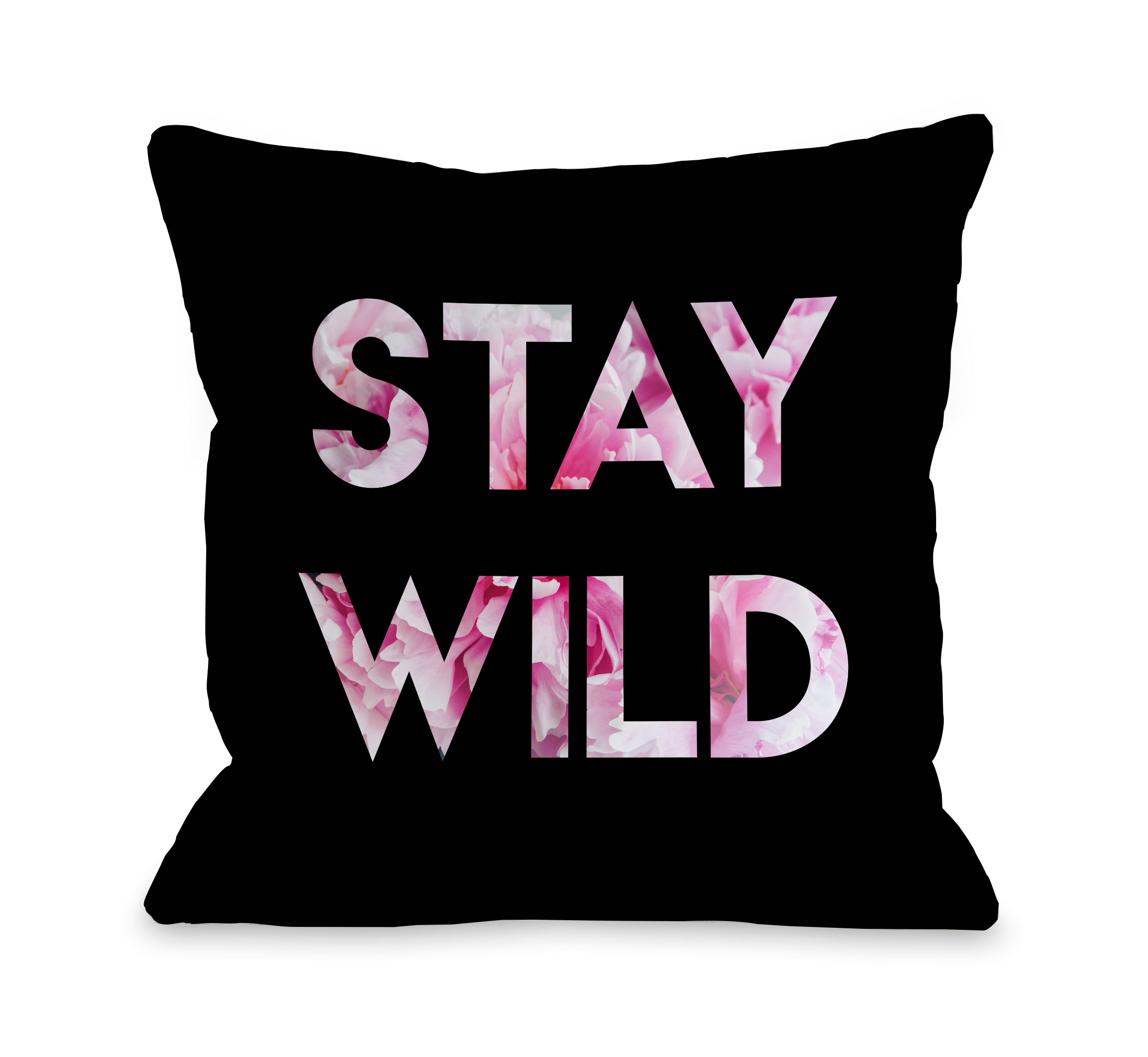 Stay Wild - Black 18x18 Pillow by OBC