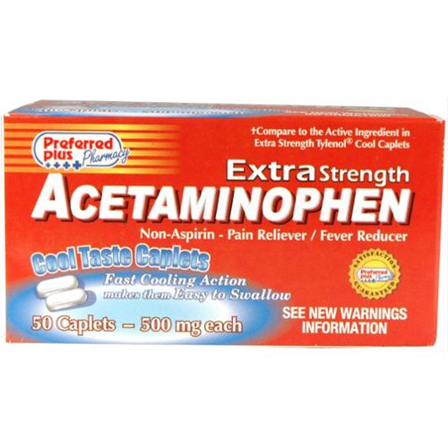Acetaminophen  Extra Strength 500mg Cool Taste Caplets 50 ea (Pack of 3)