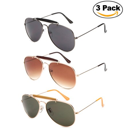 Timeless Classic Aviator Sunglasses with Brow Bar and Cable Wire Wrap Ears Temples For Secure Fit Men (Asian Fit Aviators)