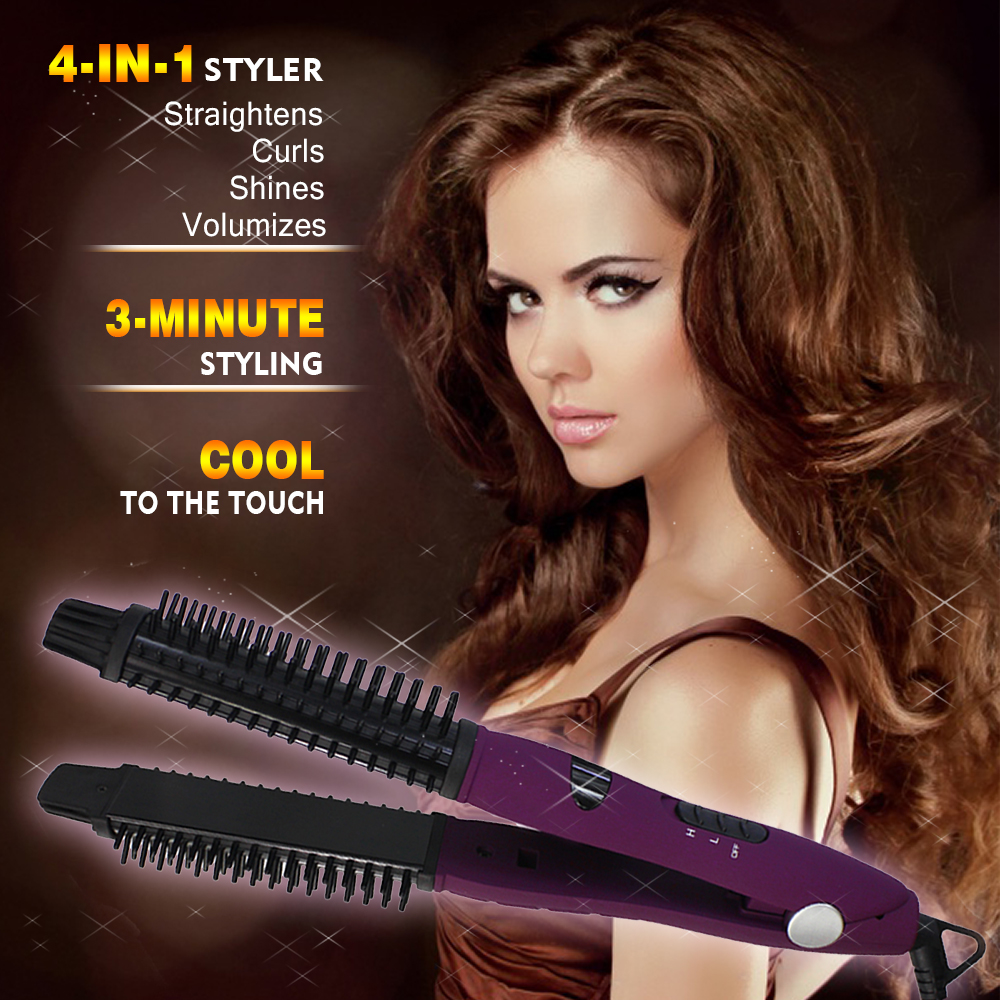 Styling Ceramic Flat Iron Hair 4-in-1 Styler  Volumize Tool Straighten Curl Shine Curling Iron Hair Straightener Brush  flat iron, curling iron, round brush and styling wand