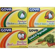Goya Foods Bouillon Variety 4-Pack Bundle Flavored Powder in Chicken, Beef, Chicken Tomato and Salad & Vegetable