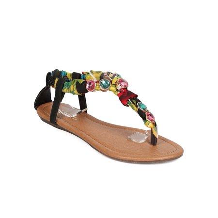 New Women Liliana Bianca-15 Floral T-Strap Rhinestone Ankle Strap Wedge Sandal