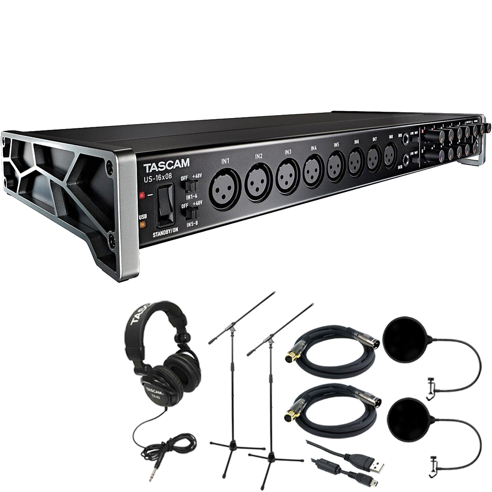 Tascam 16-Bit Audio Interface Mic Preamp for Mac, Windows, iPad + Closed-Back Headphones +... by Tascam