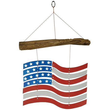 Patriotic US Flag Mobile - Glass And Driftwood 18
