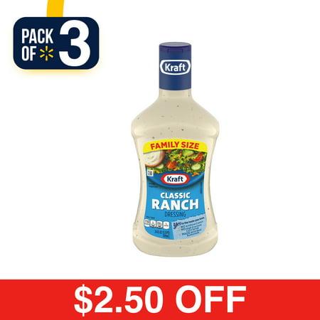 (3 Pack) Kraft Classic Ranch Dressing, 24 Fl Oz