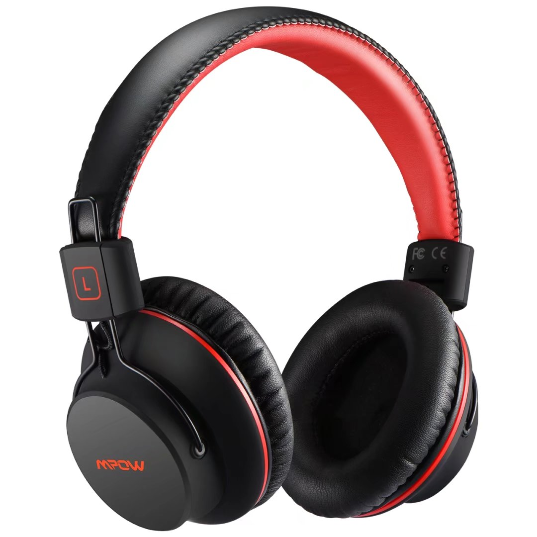 Mpow H1 Bluetooth Headphone, Wireless Bluetooth Over Ear Cushioned Headphones, Foldable Earphones w/ Built-in Mic and Wired Mode for PC/ Cell Phones/ TV (Black & Red)