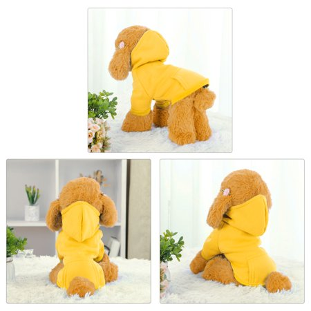 Cotton Dog Sweatshirt Hoody Pet Clothes Fleece Lined Coat w Pocket Yellow XXL - image 2 of 7