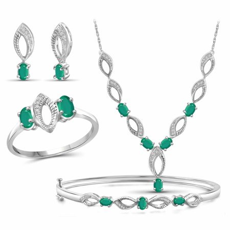 2 3/4 Carat T.G.W. Emerald And White Diamond Accent Sterling Silver 4-Piece Jewelry set - Emerald Vintage Jewelry Set
