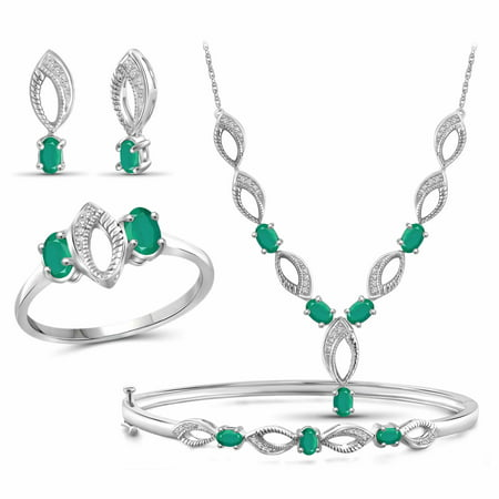 2 3/4 Carat T.G.W. Emerald And White Diamond Accent Sterling Silver 4-Piece Jewelry set ()