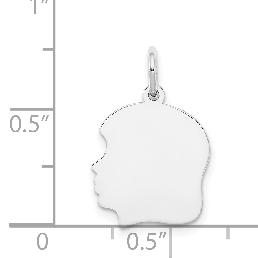 14K White Gold Plain Medium Facing Left Engravable Girl Charm - image 1 of 2