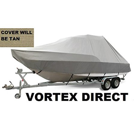 VORTEX HEAVY DUTY TAN / BEIGE T-TOP CENTER CONSOLE BOAT COVER FOR 19' - 20' BOAT (FAST SHIPPING - 1 TO 4 BUSINESS DAY DELIVERY)