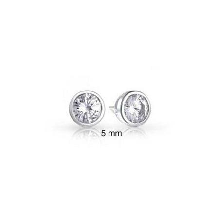 Bling Jewelry Sterling Silver Bezel Set Round CZ Men Stud Earrings 5mm