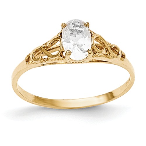 14k Yellow Gold 6x4m Oval Synthetic White Spinel Ring.