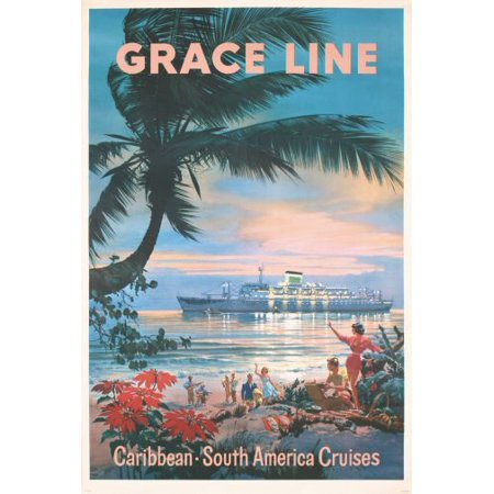 Caribbean Graceline Cruises Poster Entertainment Decor 24in x36in - Caribbean Decor