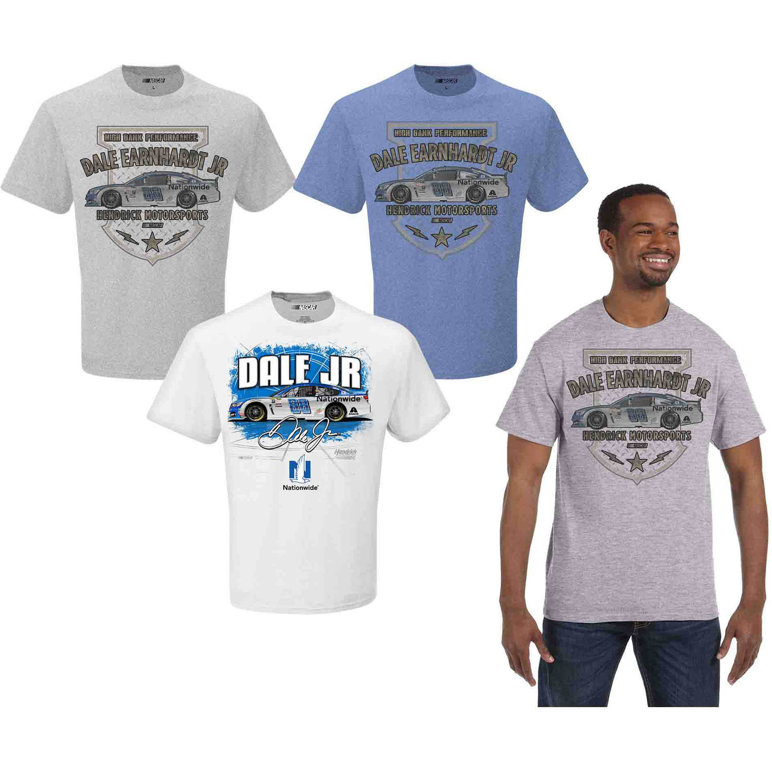 NASCAR Big Men's Dale JR Nationwide 3 Pack Tee Shirts, 2XL
