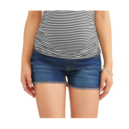 Frayed Hem Short (Maternity Full Panel Denim Shorts with Frayed Hem and Embroidered Back Pockets-- Available in Plus)