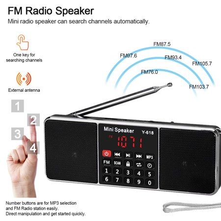 Y-618 Mini FM Radio Digital Portable Dual 3W Stereo Speaker MP3 Audio Player High Fidelity Sound Quality w/ 2 Inch Display Screen Support USB Drive TF Card AUX-IN Earphone-out - image 6 of 7