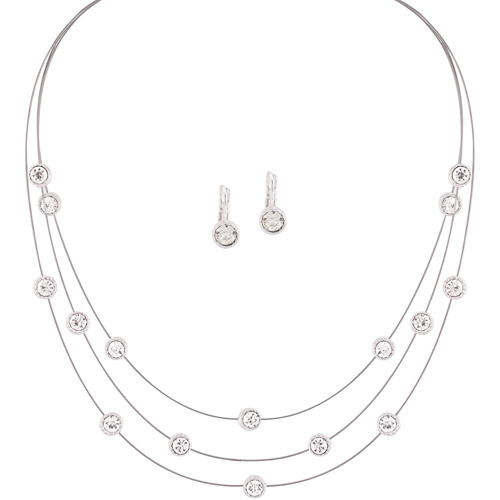 Crystal Illusion Necklace and Earrings Set