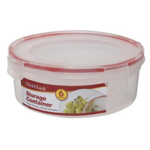 Bulk Buys 6 Pc Round Plastic Container with Click & Lock Lids - Case of 24