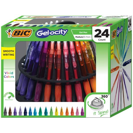 BIC Gel-ocity Original Retractable Gel Pen Spinner, Assorted Colors, 24