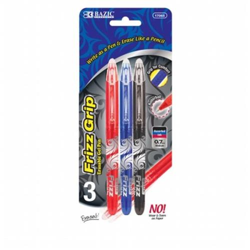 Bazic Frizz Assorted Color Erasable Gel Pen with Grip (3/...