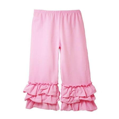 Girls Pink Triple Tier Ruffle Cuffed Cotton Spandex Pants - Young Girls Spandex