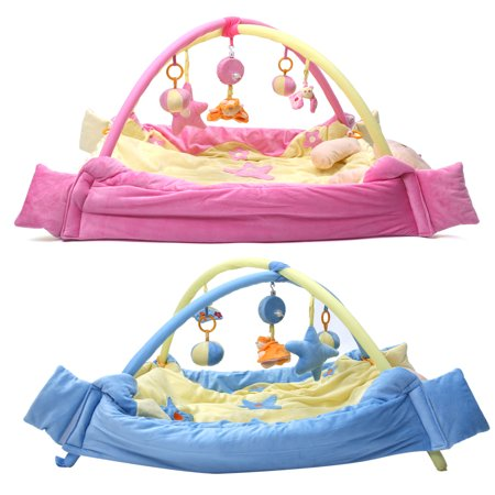 Marsin Baby Play Mat 2-in-1 Blue Or Pink Music & Toys Fitness Activity Exercise Play Mat