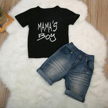 SUNSIOM Toddler Kids Boy Summer Clothes T-shirt Tops+Denim Shorts Pants Outfits 2pcs Set