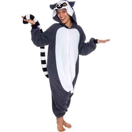 Animal Costume Pajamas (SILVER LILLY Unisex Adult Plush Lemur Animal Cosplay Costume)