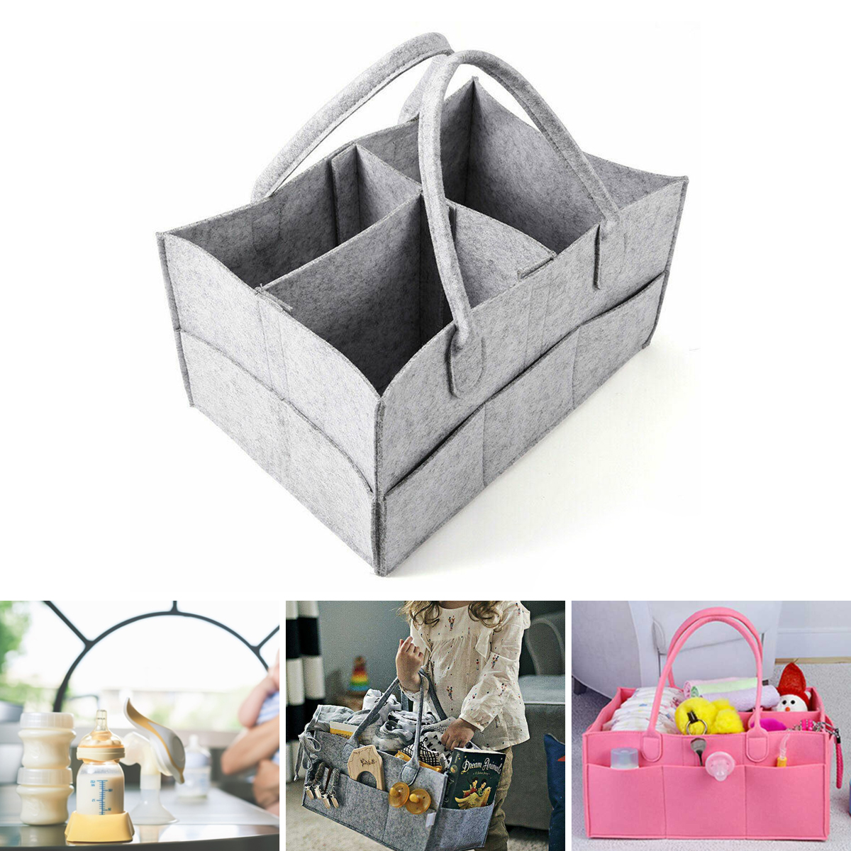 Baby Diaper Organizer Caddy Polyester Change Nappy Kids Storage Carrier Bags