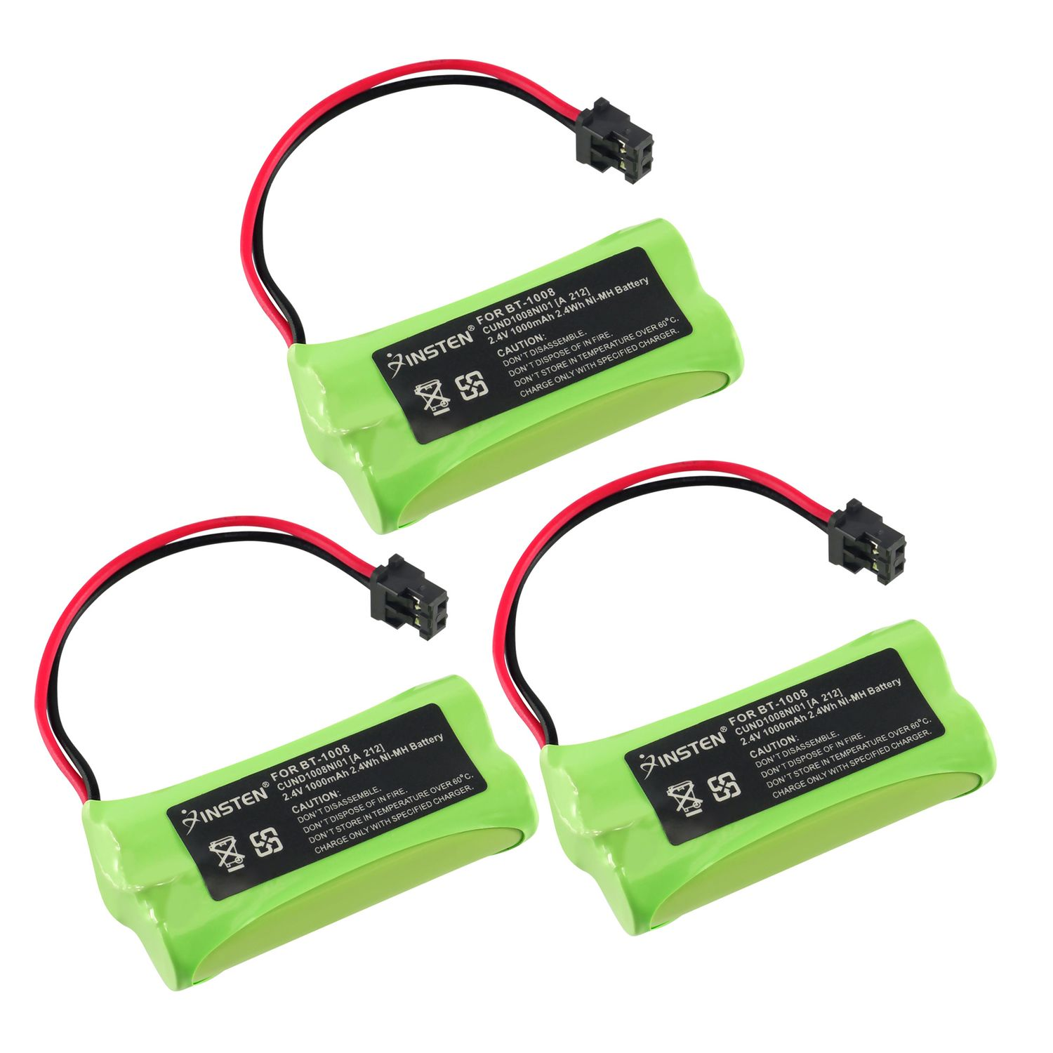 Insten Extra Ni-Mh Cordless Phone Home Battery Power For Uniden BT-1008 Dect 6.0 DECT-2060 65AAAH2BMS WXI-2077 (3 Pack)