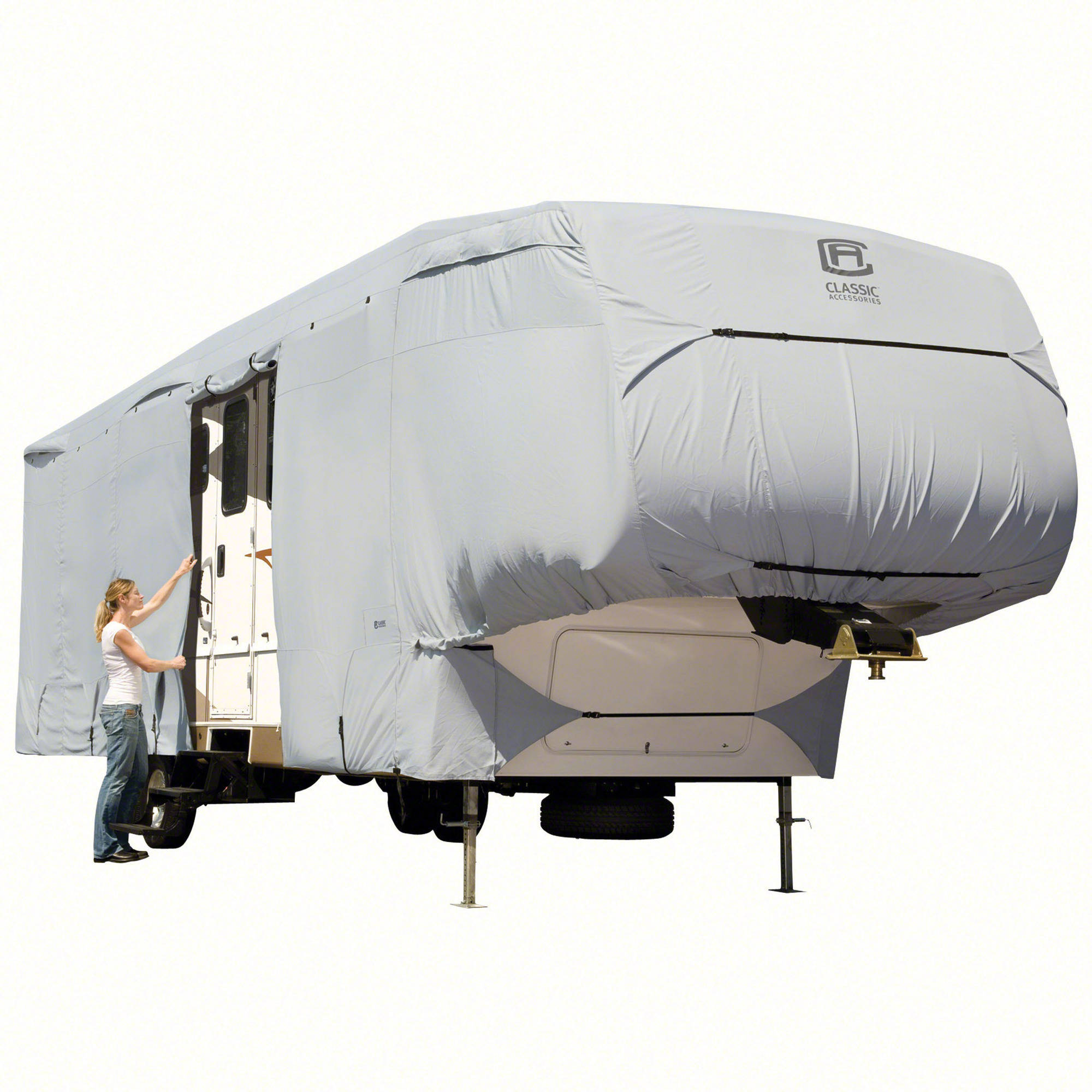 Classic Accessories OverDrive PermaPRO Deluxe 5th Wheel Cover, Fits 20' - 44' RVs - Lightweight Ripstop and Water Repellent RV Cover