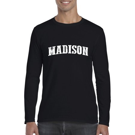 Artix Madison WI Milwaukee Map Badgers Panthers Home University of Wisconsin Flag Softsyle Long Sleeve Men's T-Shirt Tee - Party Store Madison Wi