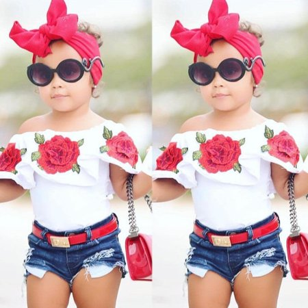 2Pcs Cute Toddler Baby Kids Girls Flower Tops Denim Shorts Pants Outfits Clothes