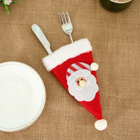 Christmas Decorative Tableware Fork Set Christmas Hat Storage Tool ()