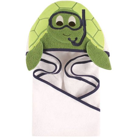 Hudson Baby Woven Terry Animal Hooded Towel, Scuba Turtle](Turtle Baby)