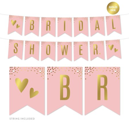 Blush Pink and Metallic Gold Confetti Polka Dots, Hanging Pennant Party Banner with String, Bridal Shower, 5-Feet, 1 Set - Pink And Gold Polka Dots