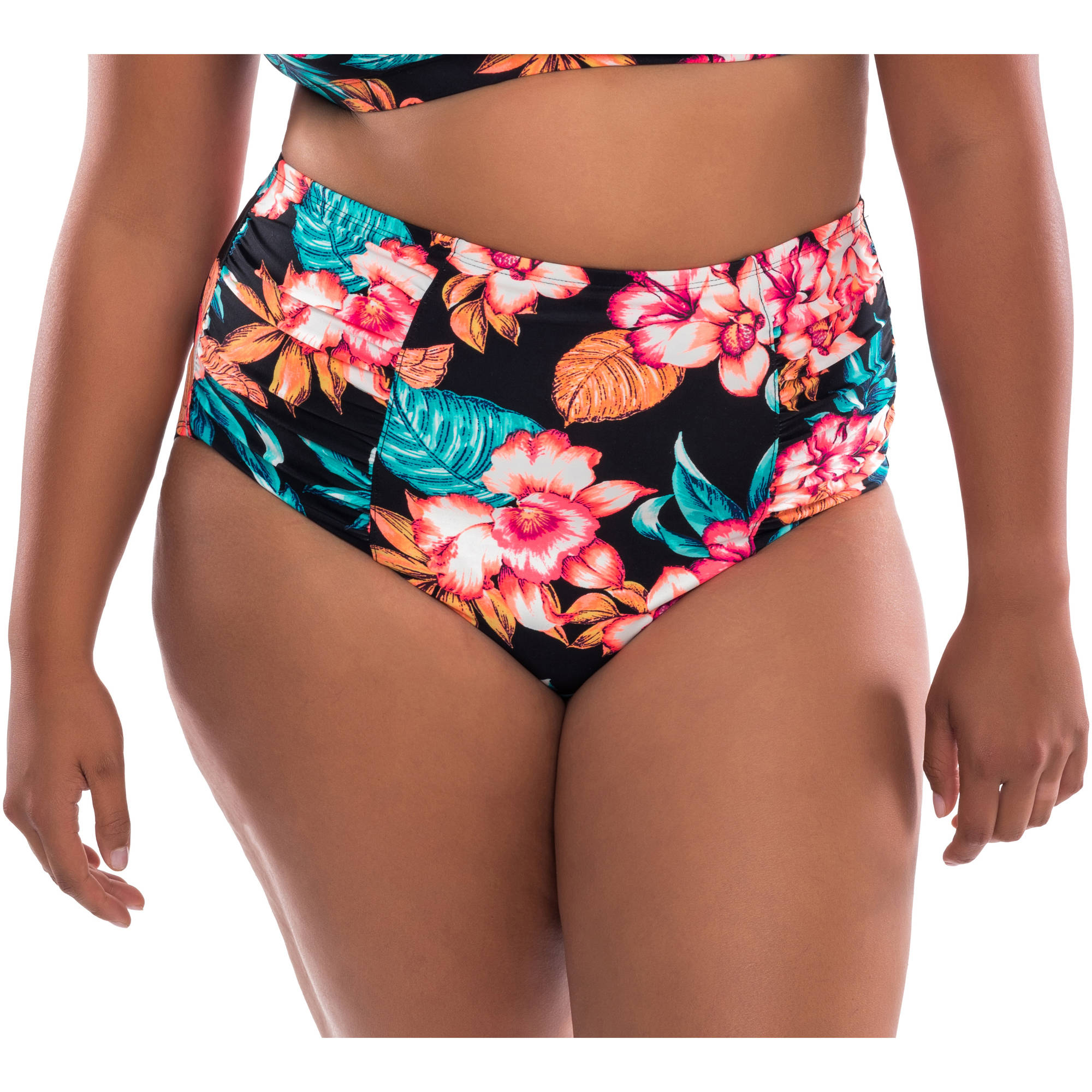 Moxi Blu Women's Plus-Size Shirred High-Waisted Swimsuit Bottom
