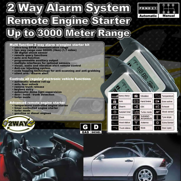 2 Way LCD Car Alarm Keyless Entry Remote Starter For Pontiac / Subaru Matiz Safari Sunbird Sunfire Baja - image 2 of 5