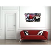 Startonight 3D Mural Wall Art Photo Decor Red Retro Car Amazing Dual View Surprise Medium Wall Mural Wallpaper for Bedroom Vintage Collection Wall Paper Art 32.28 inch By 59.06 inch