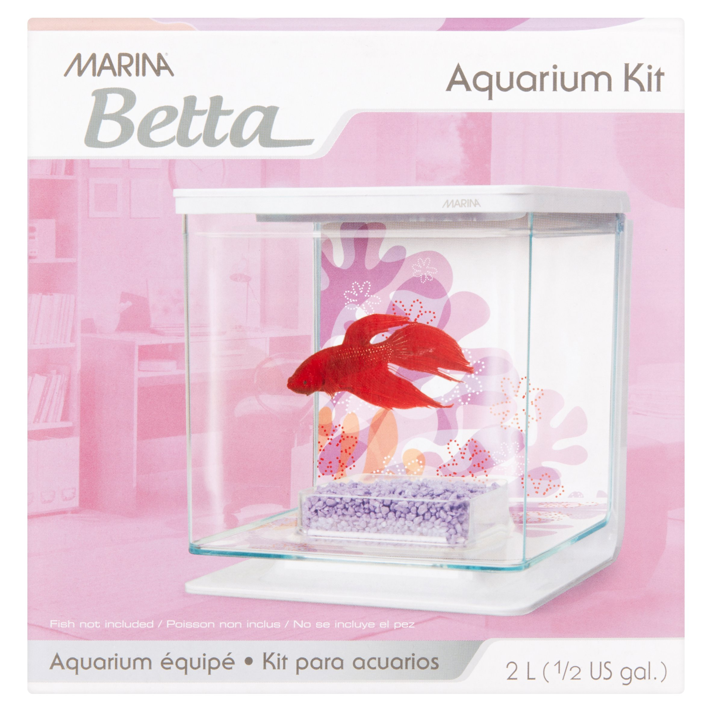 Marina Betta 0.5-Gallon Aquarium Starter Kit, Flower Design