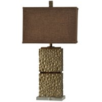 Altamont Contemporary Table Lamp - Tan Finish - Brown Hardback Fabric Shade