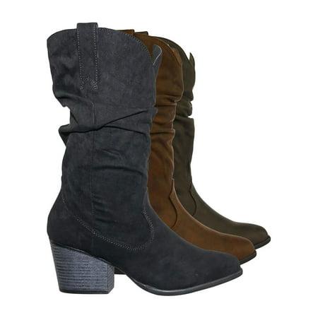 Rancher07 by Bamboo, Faux Fur Inner Lining Western Cowboy Block High Heel Dress Boots High Heel Western Boots