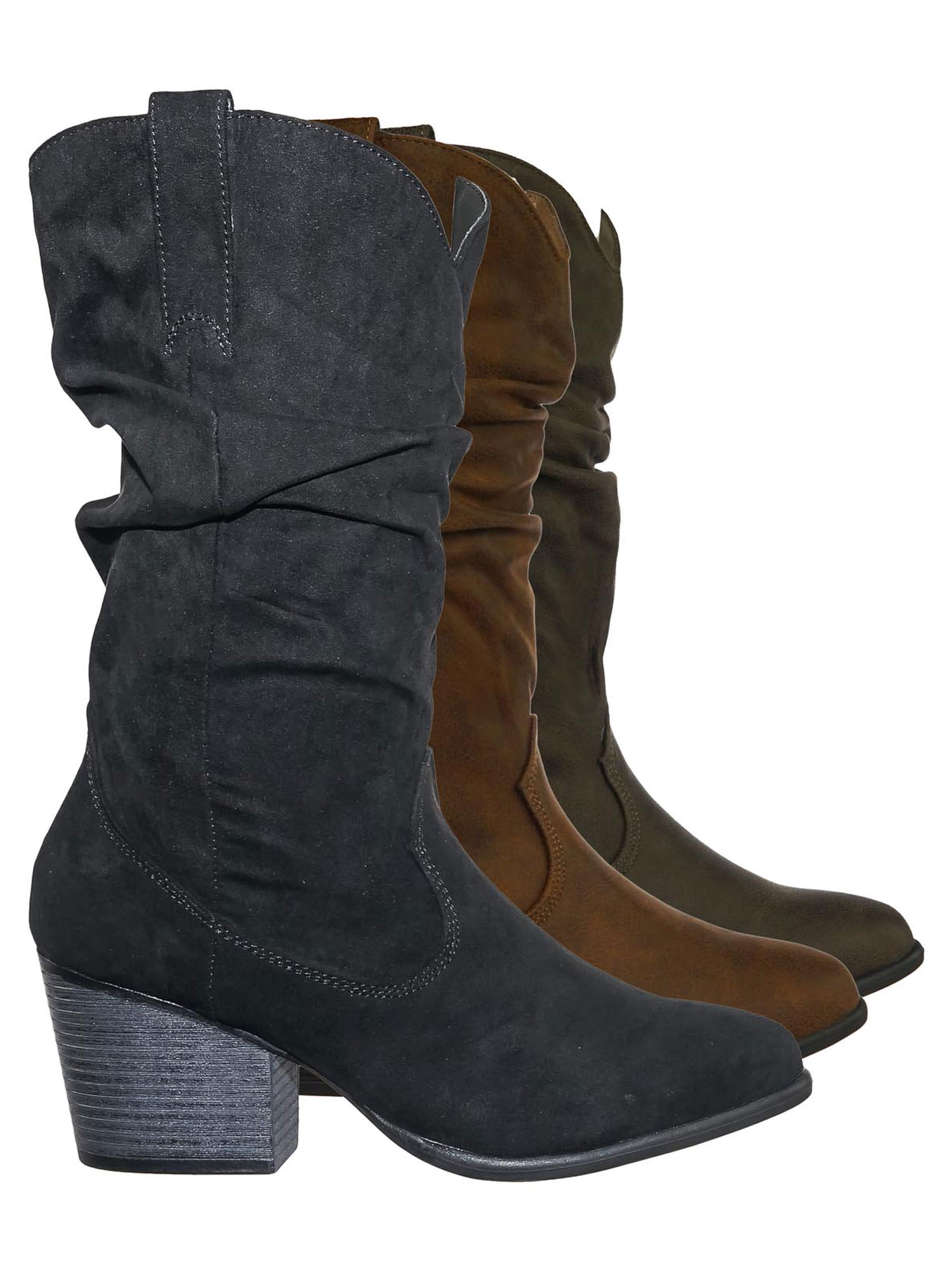 Rancher07 by Bamboo, Faux Fur Inner Lining Western Cowboy Block High Heel Dress Boots