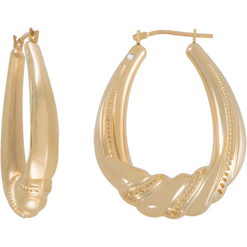 14kt Gold Beaded Twist Hoop Earrings