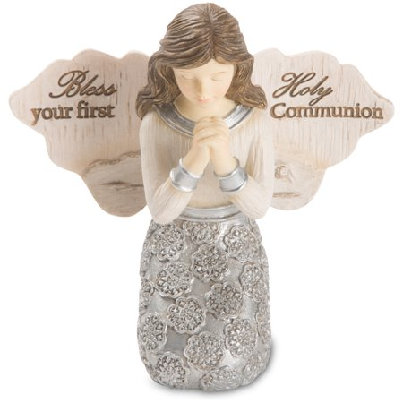 Pavilion - Bless Your First Holy Communion - Praying Girl Angel Figurine 3.5 Inches - Girl 1st Communion Figurine