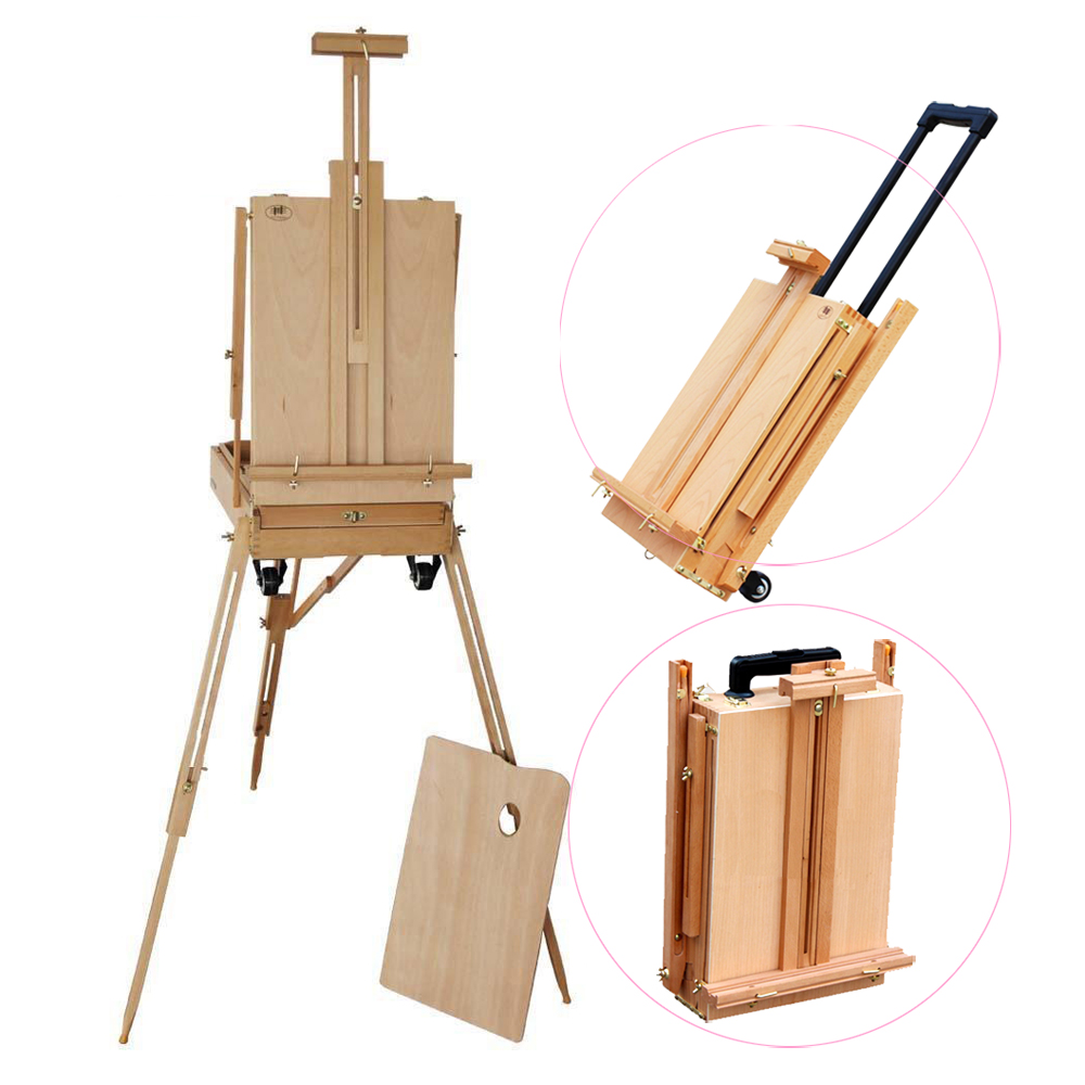 Ktaxon French Tripod Wheeled Drawing Easel Display Stand Floor with Wooden Sketch Box Drawer Storage Portable Folding Artist Painters Studio