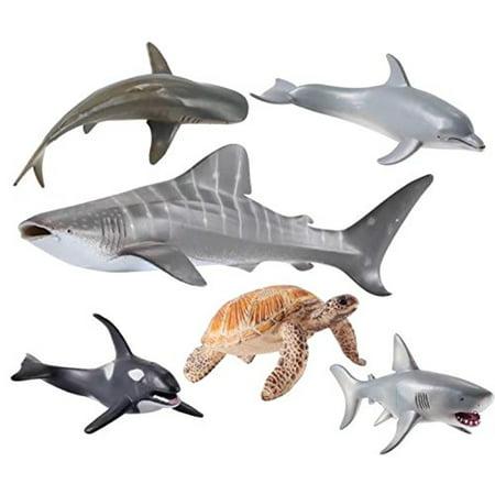 Ocean Sea Animal Set, Action Figure Toys Realistic Animal Bath Toy for Kid Toddler Child Boy Girl Educational