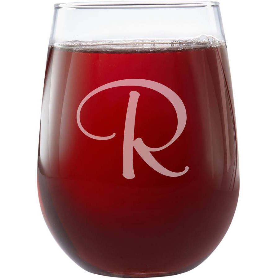 Personalized Stemless Monogram Wine Glass, Choose from Script or Swirl